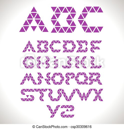 Font from triangles  - vector set. - csp30309616