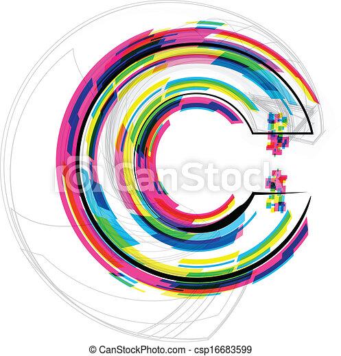 Font Illustration. LETTER C. Vector illustration - csp16683599