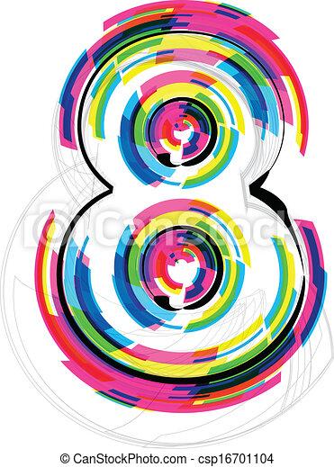 font Illustration. Number 8. Vector illustration - csp16701104