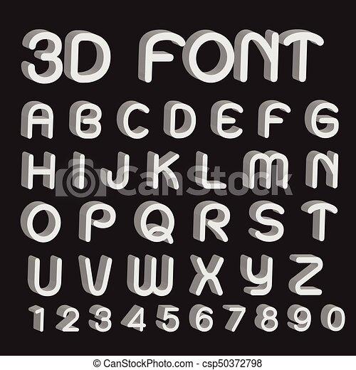 font, lettere, numeri, 3d