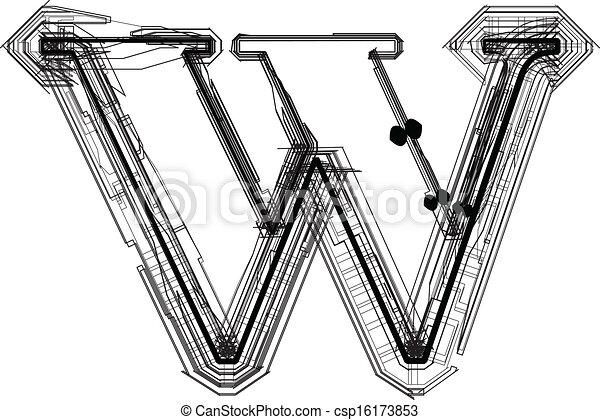 font., litera, w, techniczny - csp16173853