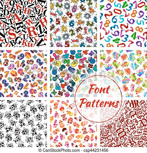 Font Patterns Cartoon Alphabet Letters Numbers