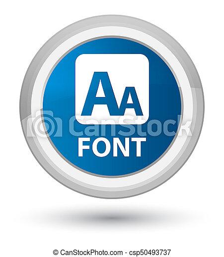 Font prime blue round button - csp50493737