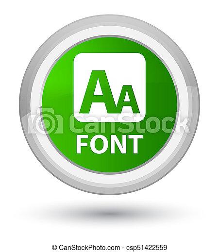 Font prime green round button - csp51422559