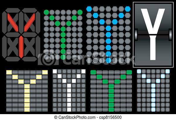 Font Set 4 Digital Display Letter Y - csp8156500