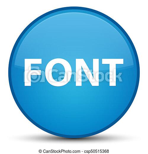 Font special cyan blue round button - csp50515368