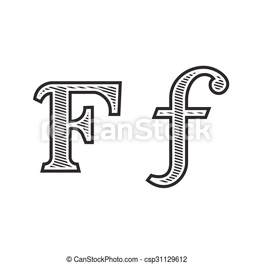 Font Tattoo Engraving Letter F With Shading