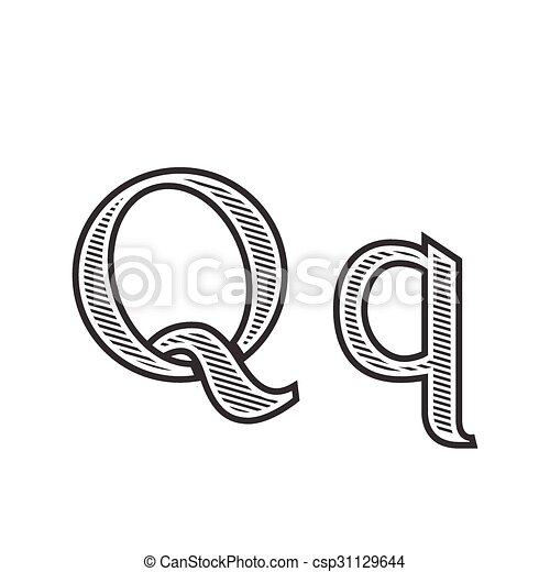 Font Tattoo Engraving Letter Q With Shading Font Tattoo Engraving