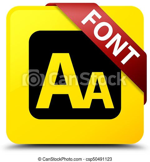 Font yellow square button red ribbon in corner - csp50491123