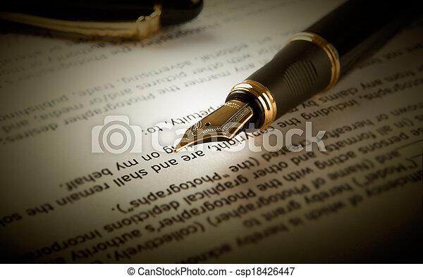 fontaine, texte, stylo, papier, feuille - csp18426447