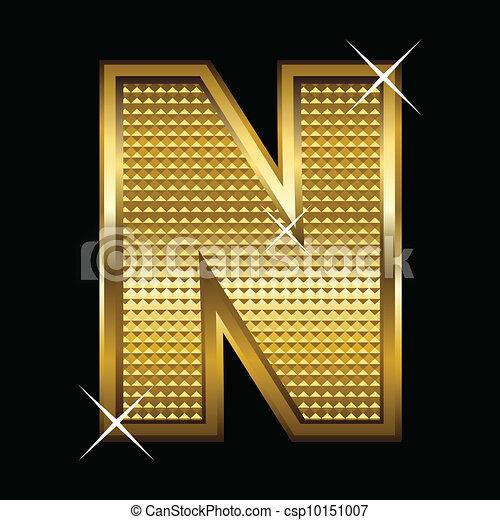 fonte, dourado, carta n, tipo - csp10151007