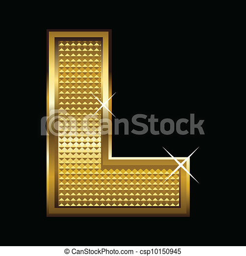 fonte, l, dourado, letra, tipo - csp10150945