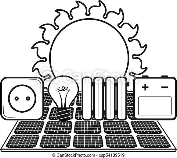 fontes, alternativa, silueta, energia - csp54139519