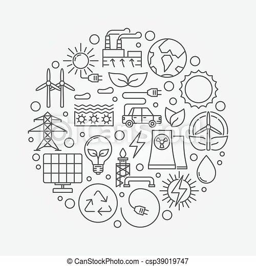 fontes, energia alternativa, ilustração - csp39019747