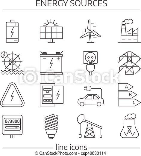 fontes, energia, jogo, linha, ícone - csp40830114