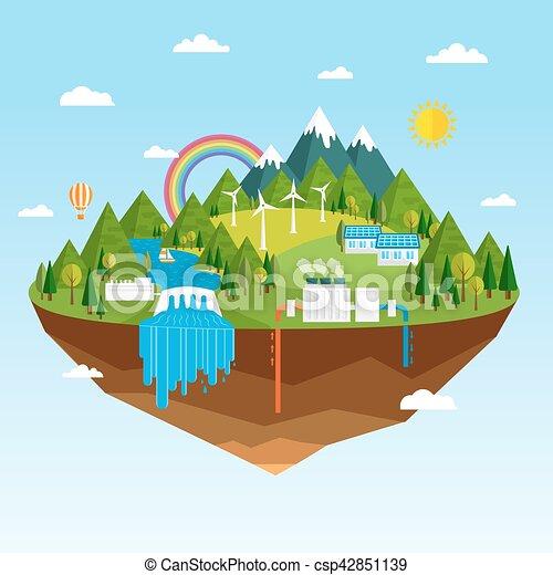 fontes, energia, renovável, ecológico - csp42851139