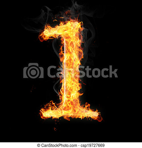 Fonts Numbers And Symbols In Fire For Different Purposes Number 1