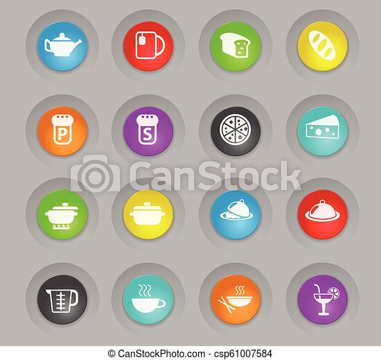 food and kitchen colored plastic round buttons icon set - csp61007584