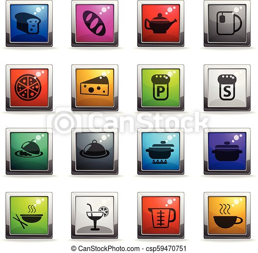 food and kitchen icon set - csp59470751