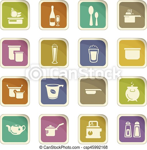 Food and kitchen icons set - csp45992168