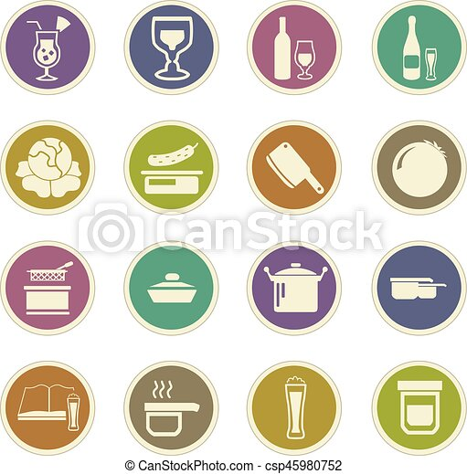 Food and kitchen icons set - csp45980752