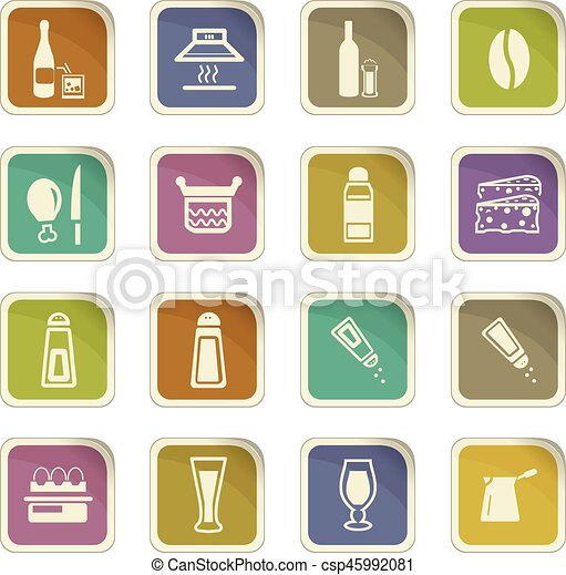 Food and kitchen icons set - csp45992081