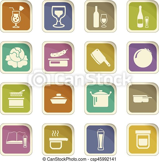 Food and kitchen icons set - csp45992141