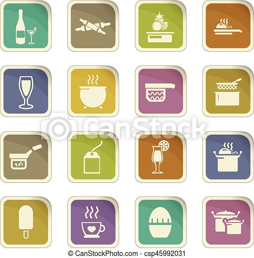 Food and kitchen icons set - csp45992031