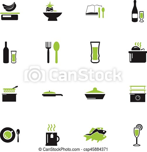 Food and kitchen icons set - csp45884371