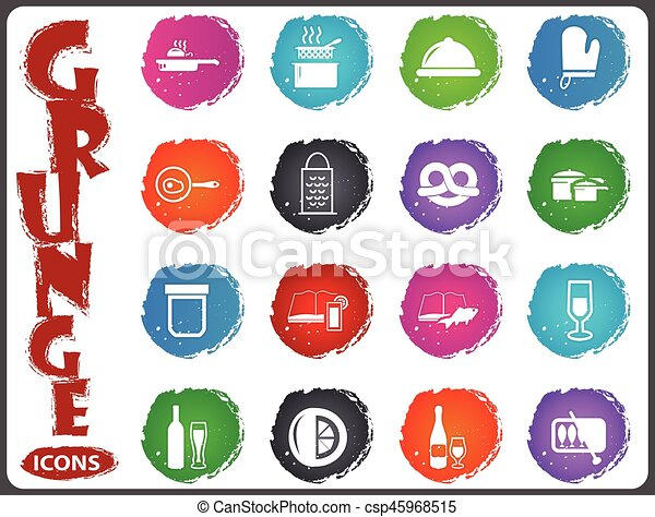 Food and kitchen icons set in grunge style - csp45968515