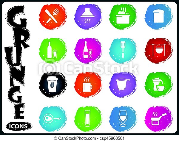 Food and kitchen icons set in grunge style - csp45968501