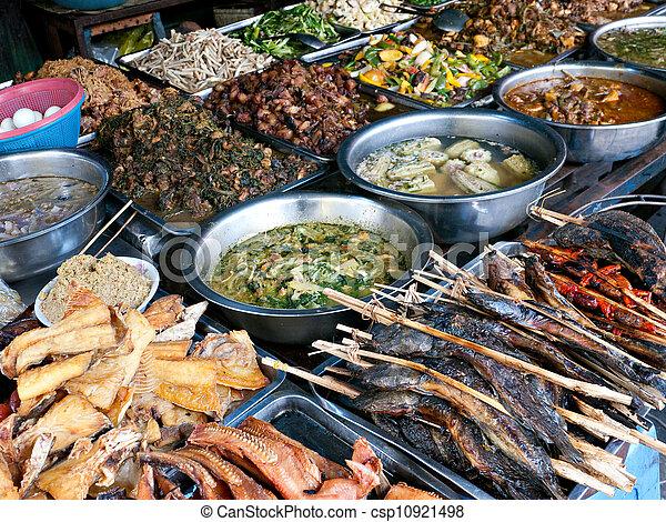 Food at kandal Market in Phnom Penh - csp10921498