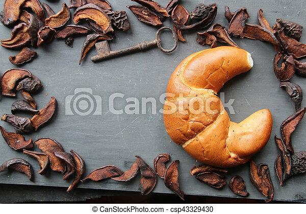 Food backgrounds. Frame with seasonal ingredients. - csp43329430