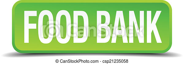 food bank green 3d realistic square isolated button - csp21235058