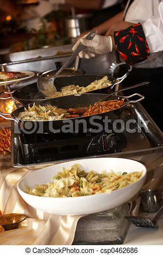 Food being prepared at a wedding function - csp0462686
