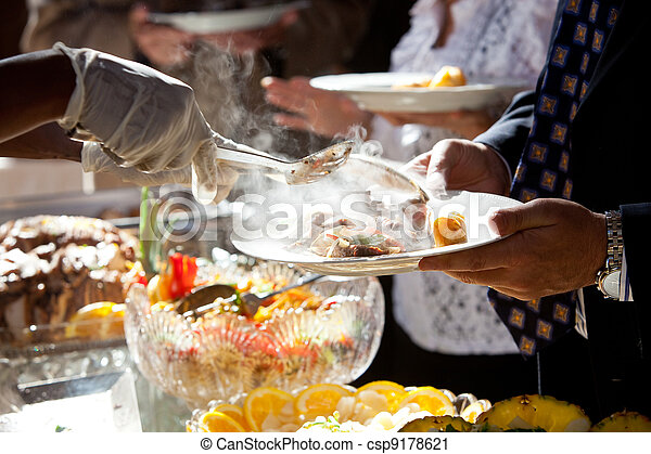 Food being served buffet style - csp9178621