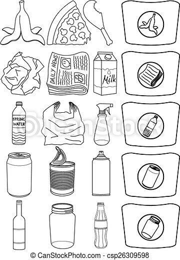 Food Bottle Cans Paper Recycle Line Vector Illustration