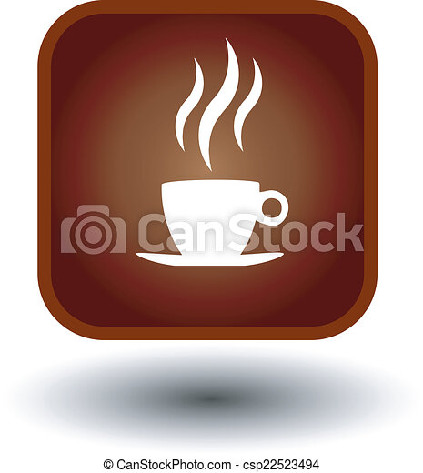 food button, hot coffee icon - csp22523494