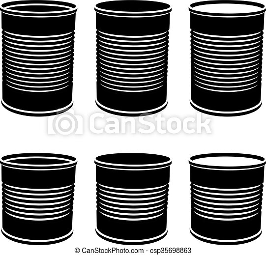 food cans black symbol - csp35698863
