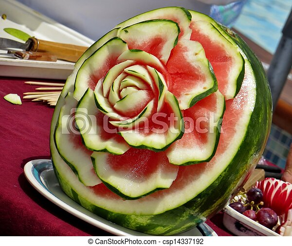 Food Carving Watermelon Carved Into A Flower Design