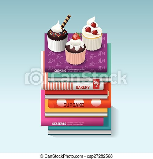 Food Cook Books Idea Cupcake Concept Design Vector Illustration Can Be Used For Layout Banner And Web Design