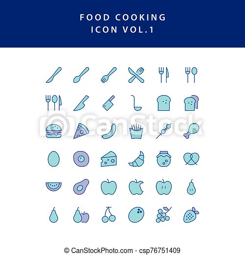 food cooking icon filled outline set vol 1 - csp76751409