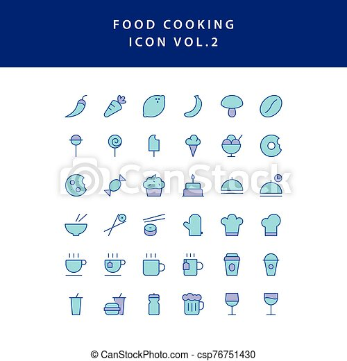 food cooking icon set filled outline set vol 2 - csp76751430