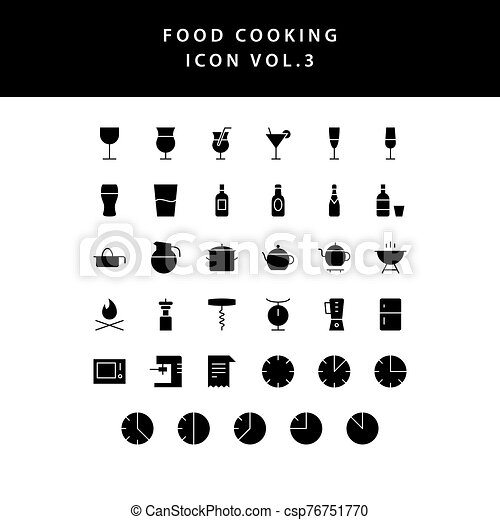 food cooking icon set glyph style set vol 3 - csp76751770