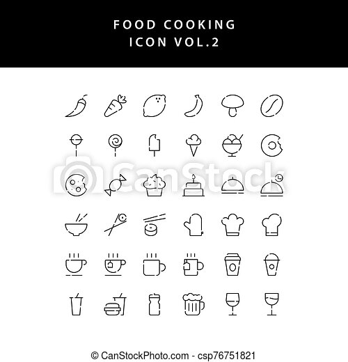 food cooking icon set outline set vol 2 - csp76751821