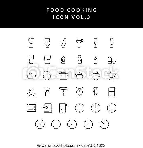 food cooking icon set outline set vol 3 - csp76751822