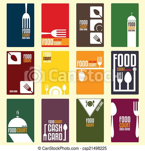 Food court cash card. menu card. vector illustration.