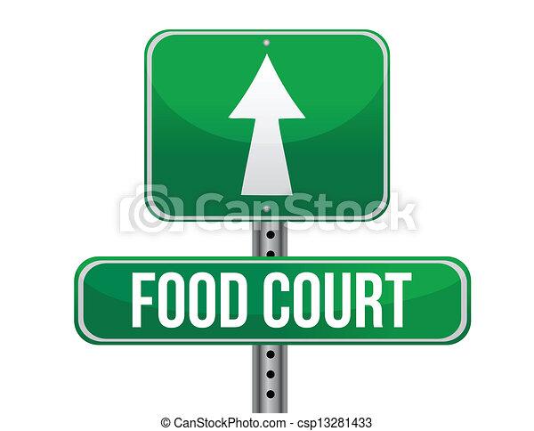 Food court road sign illustration design over a white ...