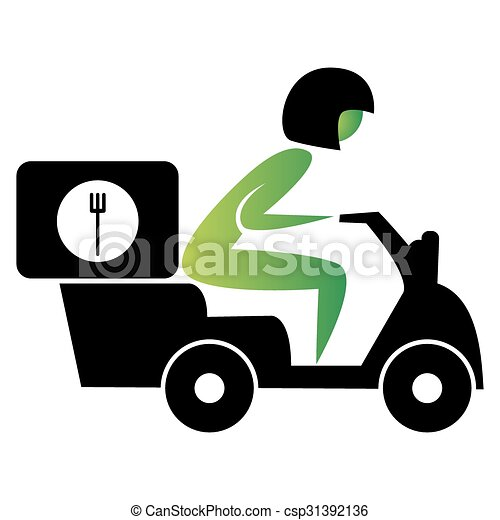 an image of a food delivery scooter vectors search clip art rh canstockphoto com clipart delivery car clipart delivery car