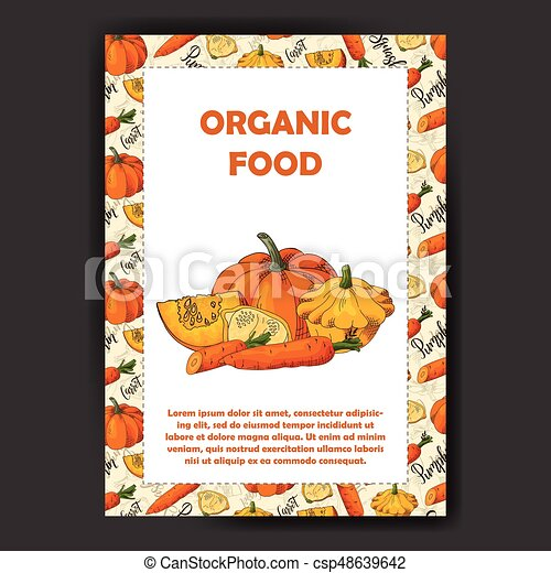 Food design with vegetable. Hand drawn sketch of beet and daikon. Organic fresh product for card or poster design for cafe. Colorful vector illustration - csp48639642